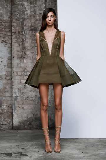 Image of Olive Green Chakra dress - Front