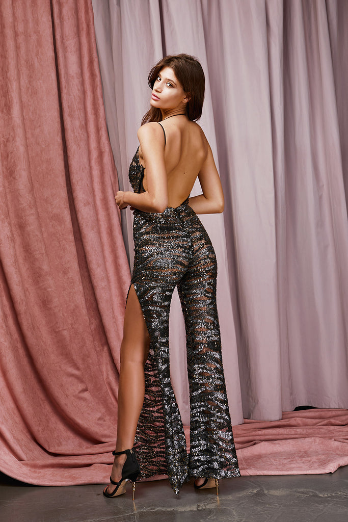 Salerno Jumpsuit - Black/Gold/Silver