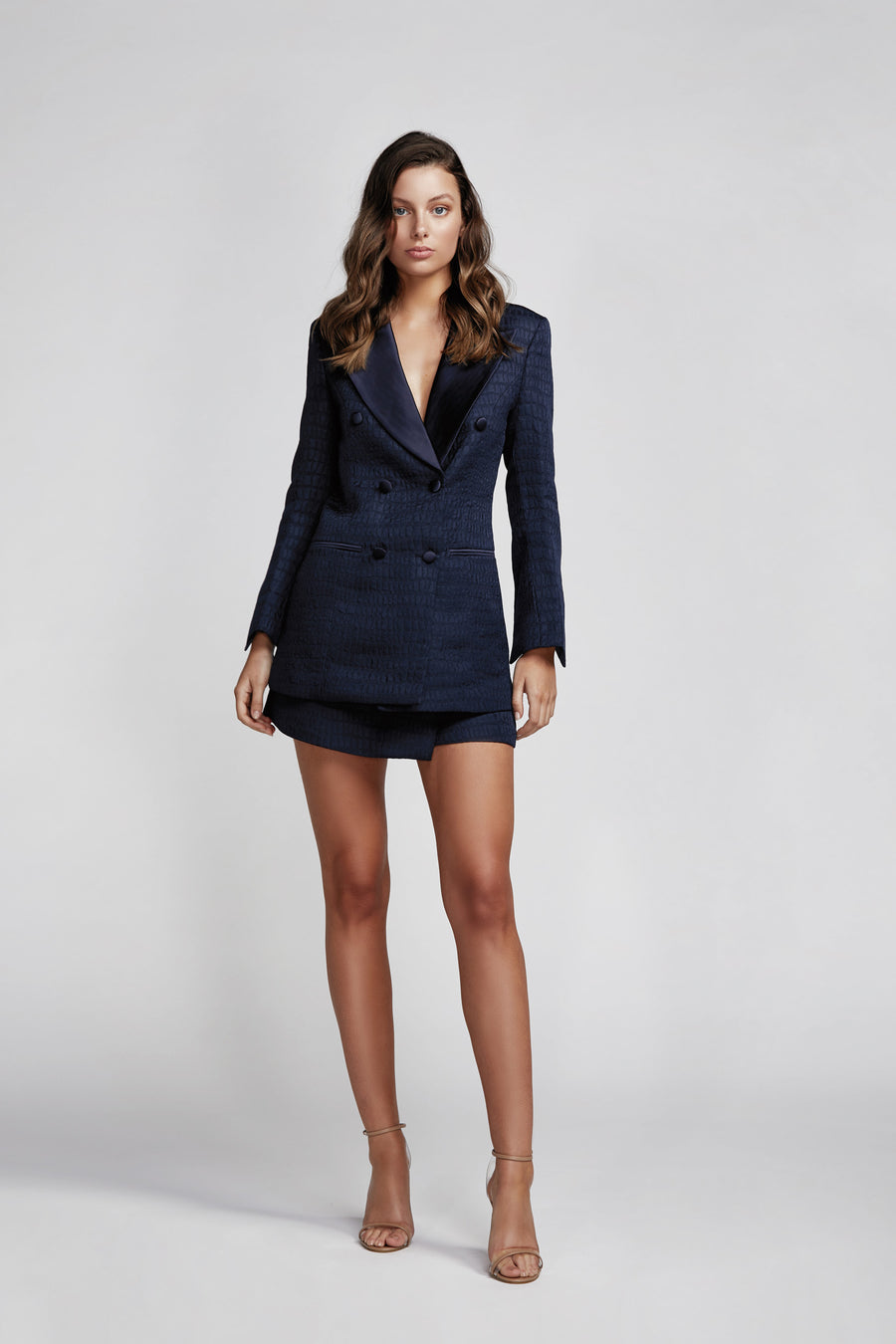 Evita Double Breasted Jacket - Navy