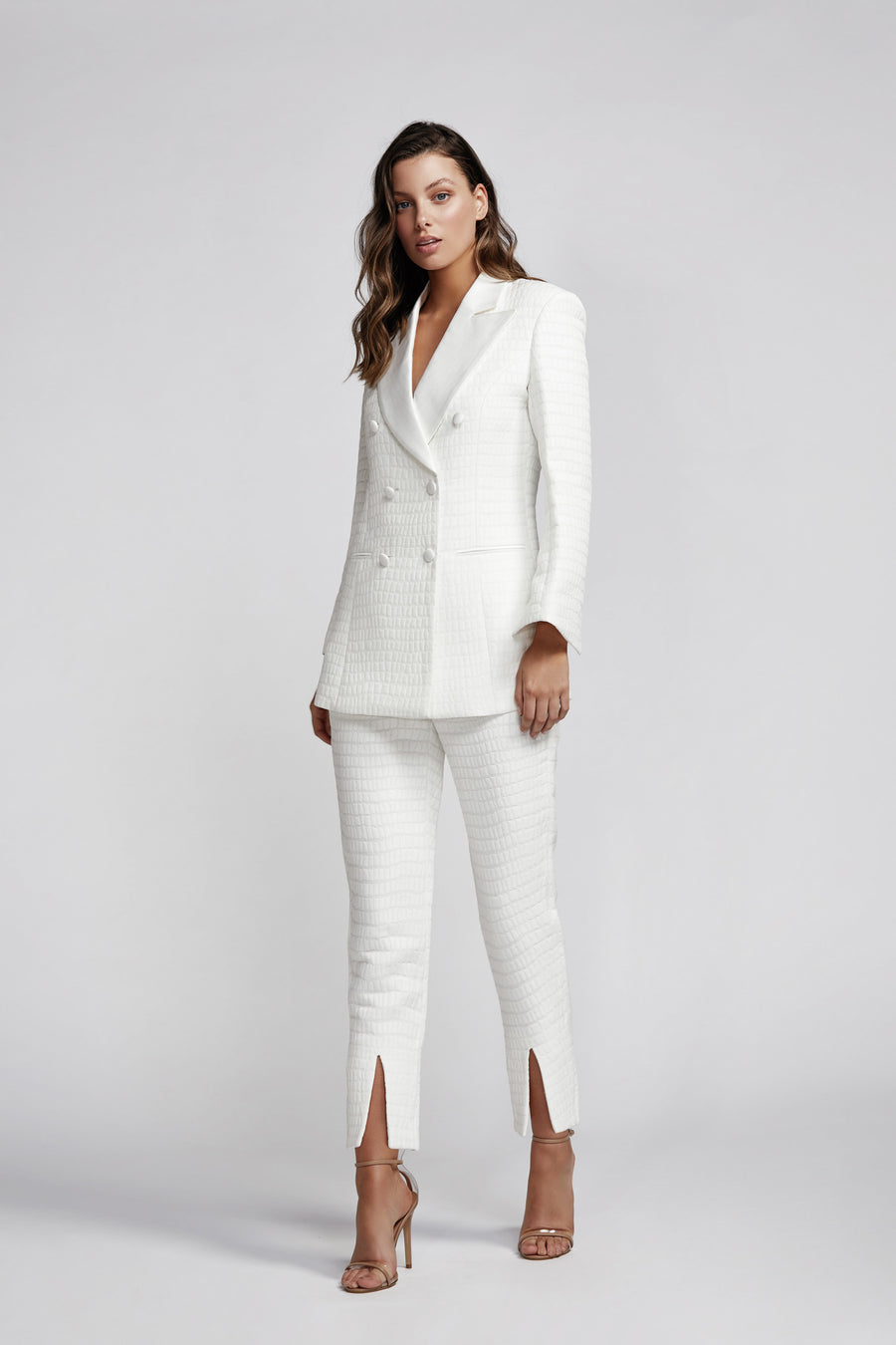 Evita Double Breasted Jacket - White