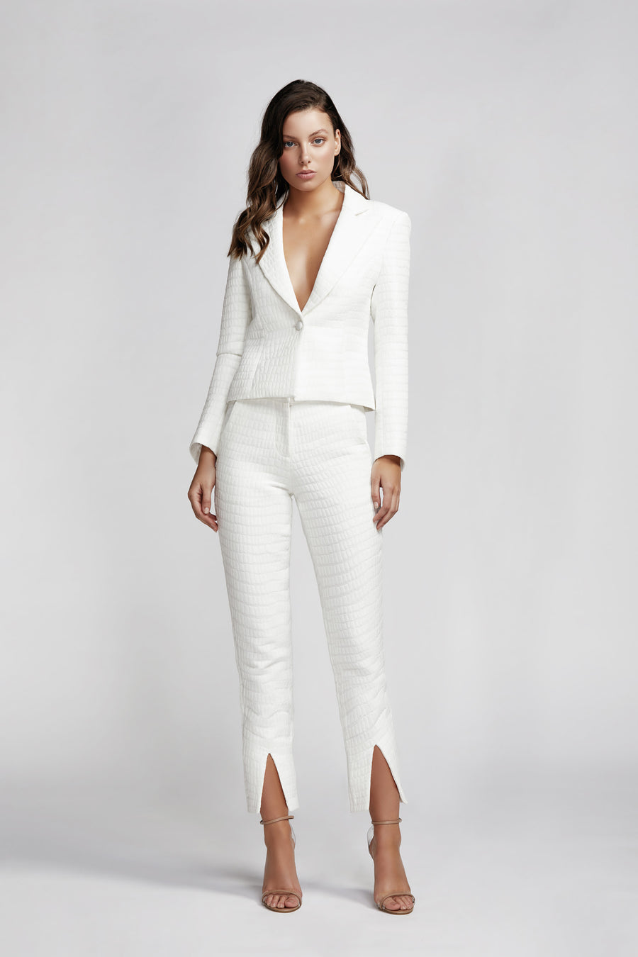 Esmeralda Single Breasted Jacket - White