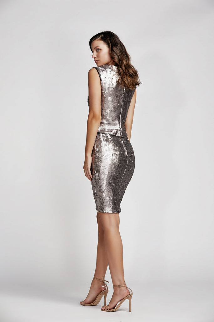 Flight Sequin Pencil Skirt in Wisteria