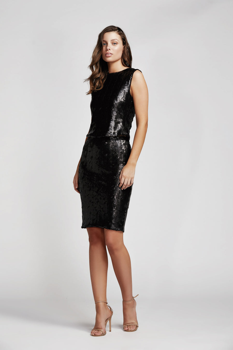 Flight Sequin Pencil Skirt in Black