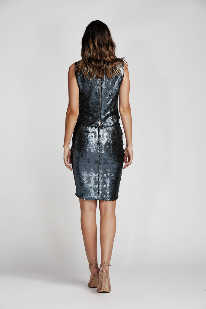 Flight Sequin Pencil Skirt in Anthracite