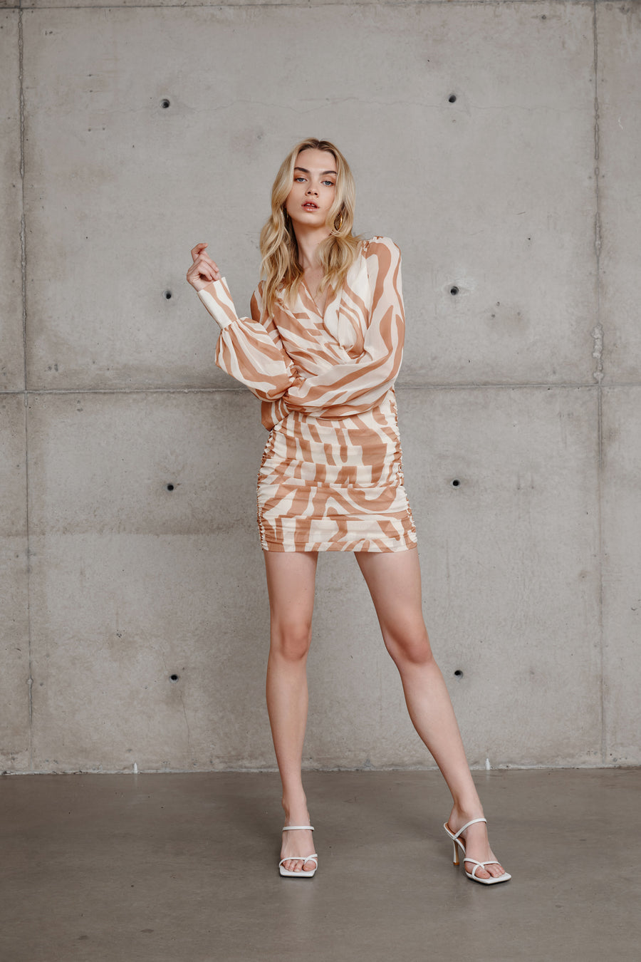 Naya Print Dress - Caramel/Sand