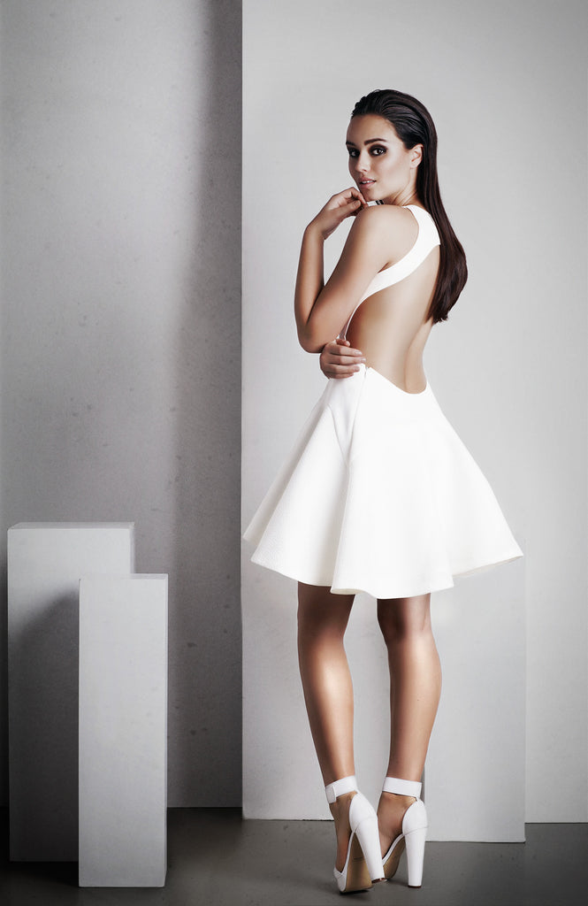Image of 'Calypso' Short Dress - White Back