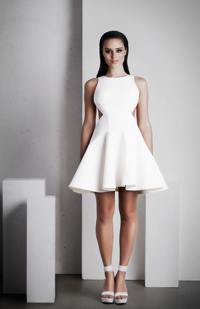 Image of 'Calypso' Short Dress - White Front