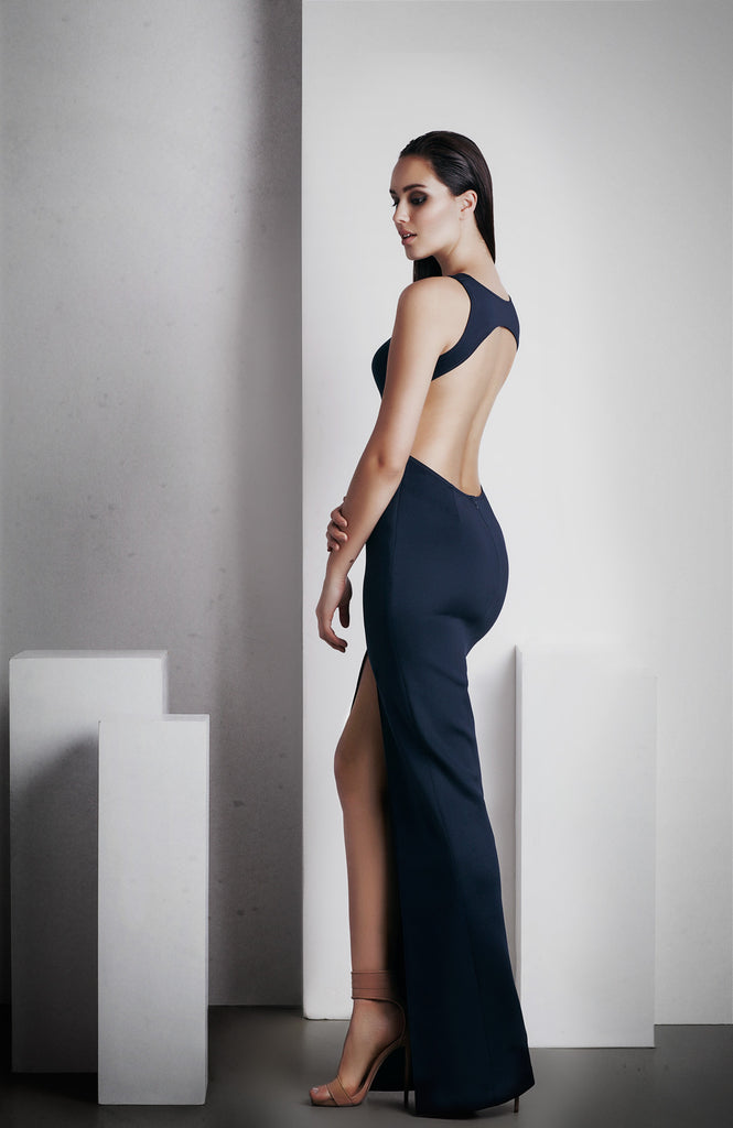 Image of 'Elara' Full Length Dress - French Navy Side