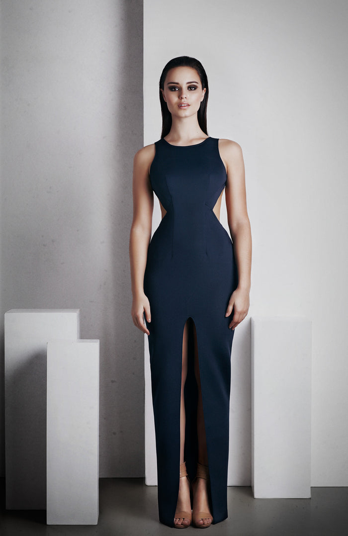 Image of 'Elara' Full Length Dress - French Navy Front