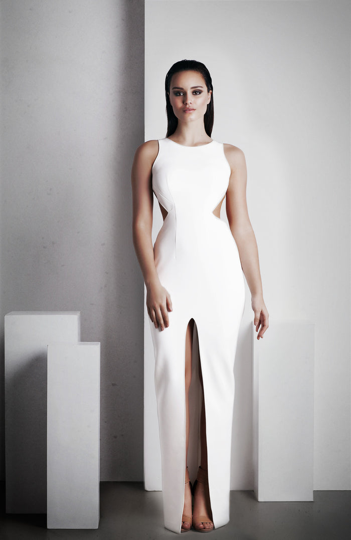 Image of 'Elara' Full Length Dress - White Front