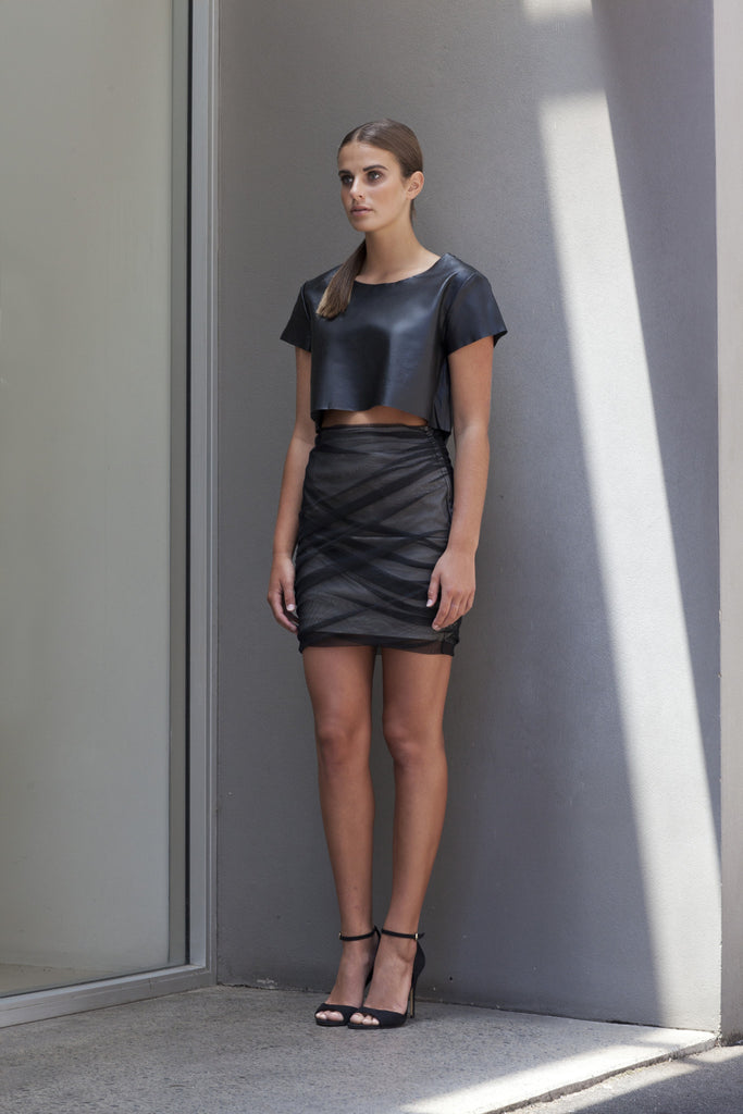 Image of 'Fracture' Ruched Mesh Skirt - Side