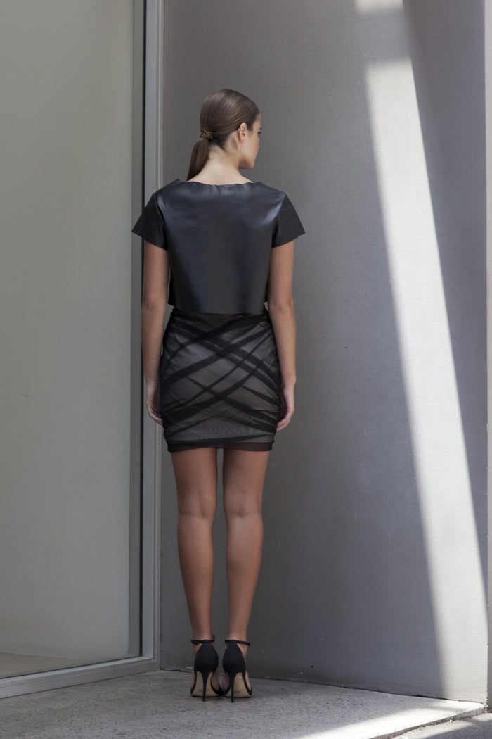 Image of 'Fracture' Ruched Mesh Skirt - Back