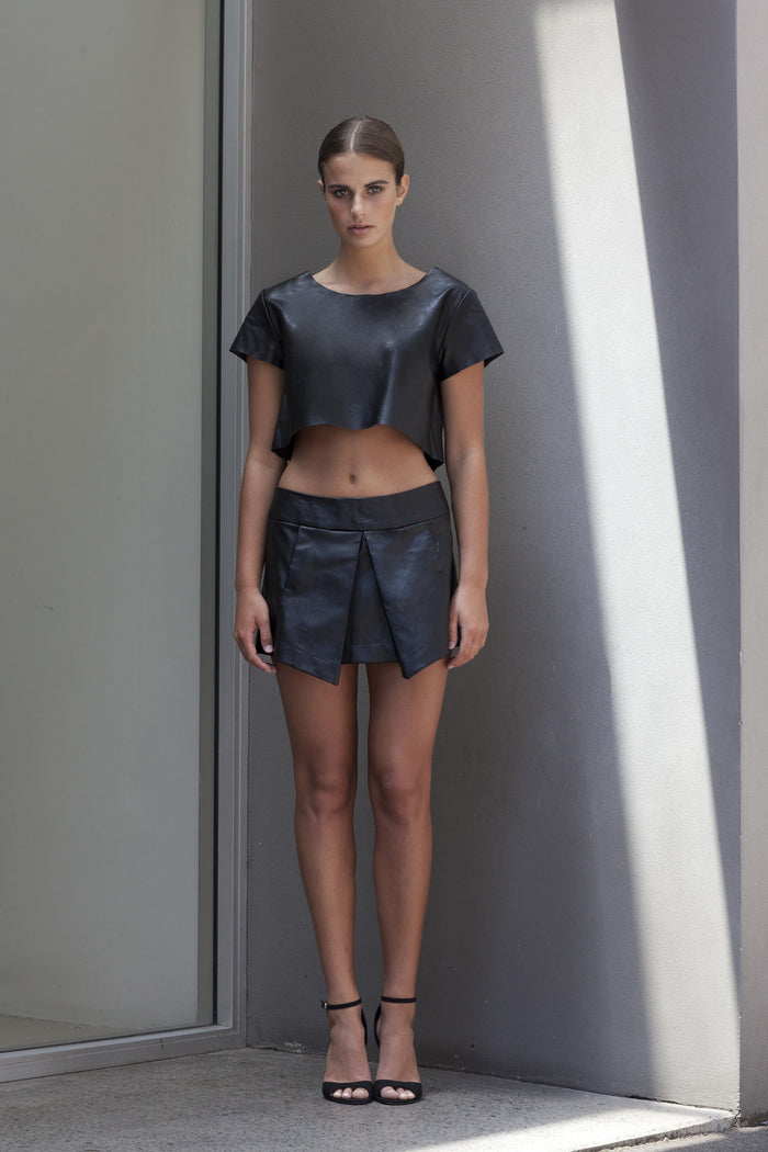 Image of 'Beat' Pleated Skirt in Black Lambskin Leather - Front