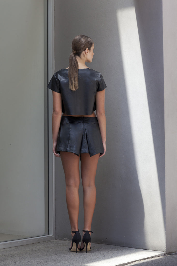 Image of 'Beat' Pleated Skirt in Black Lambskin Leather - Back