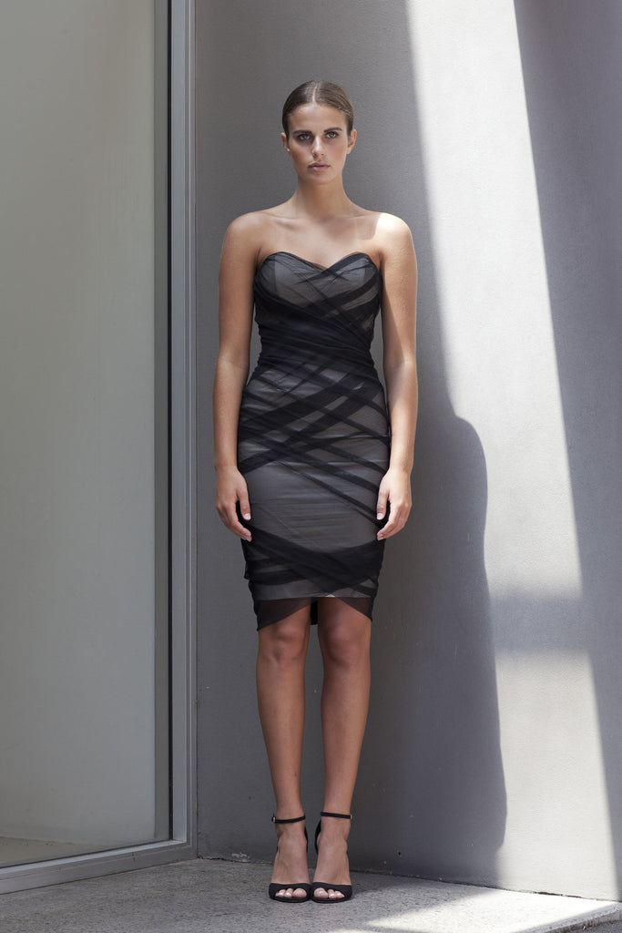 Image of 'Fracture' Ruched Mesh Dress - Front