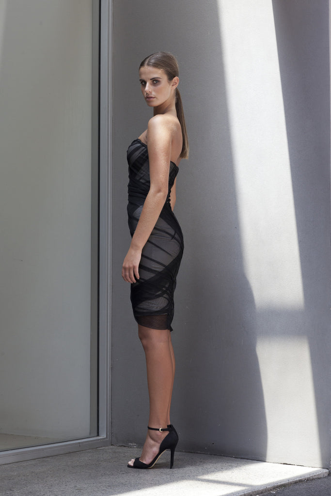 Image of 'Fracture' Ruched Mesh Dress - Side