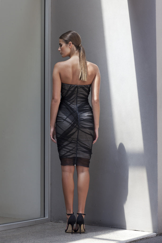 Image of 'Fracture' Ruched Mesh Dress - Back