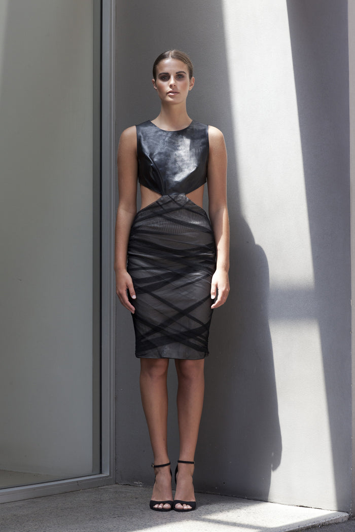 Image of 'Future' Ruched Mesh Dress with Lambskin Leather Top - Front