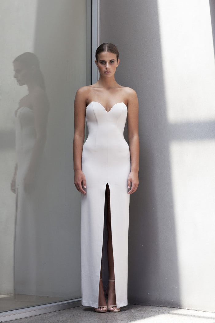 Image of 'No Limit' Split Ponte Dress in Bone - Front