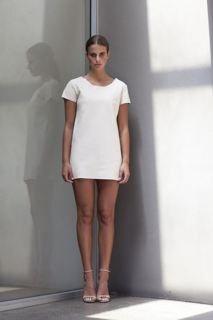Image of Big Sky Tee Dress in Bone - Front