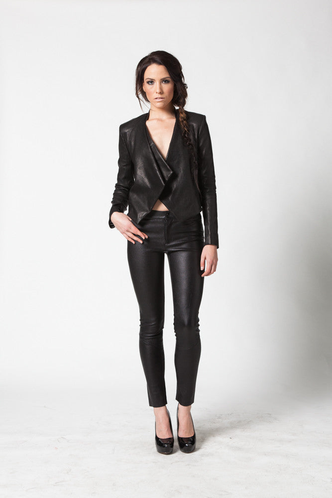 Image of Ride Asymmetrical Jacket In Stretch Lambskin Leather Front