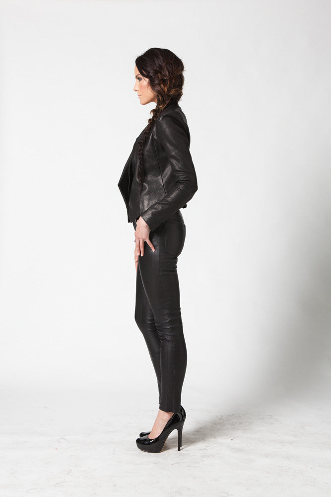 Image of Ride Asymmetrical Jacket In Stretch Lambskin Leather Side