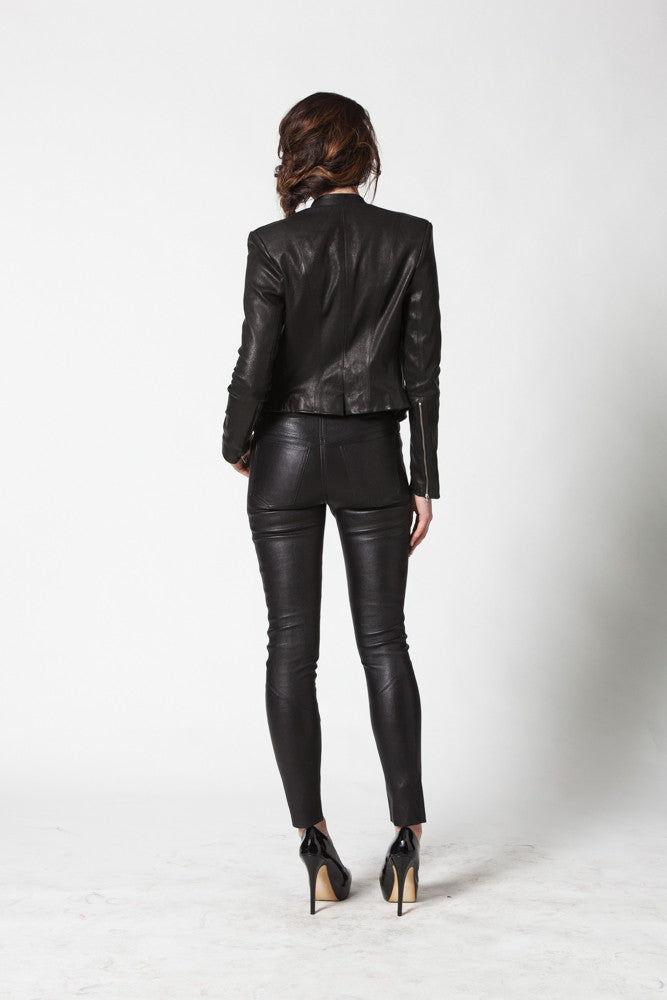 Image of Ride Asymmetrical Jacket In Stretch Lambskin Leather Back