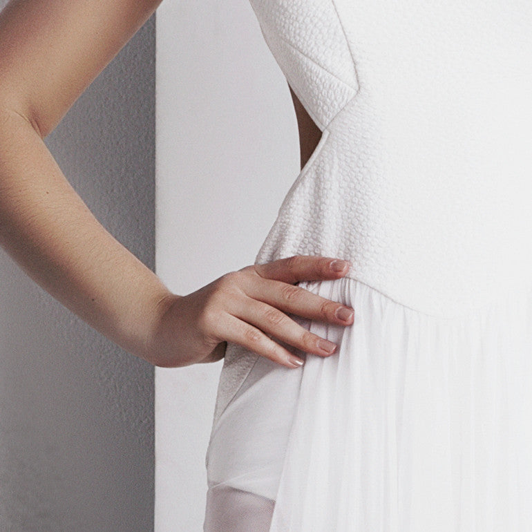 Image of 'Ophelia' Full Length Dress - White Detail