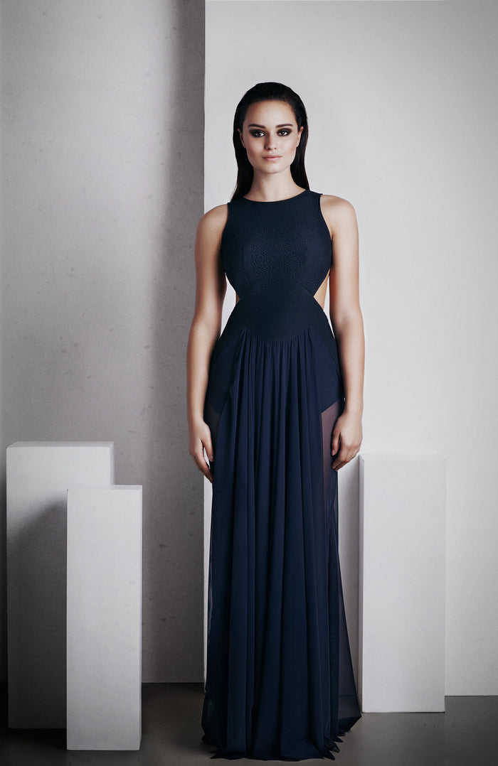 Image of 'Ophelia' Full Length Dress - French Navy Front