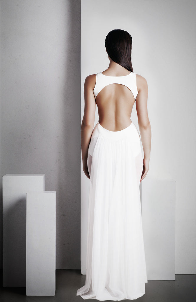 Image of 'Ophelia' Full Length Dress - White Back