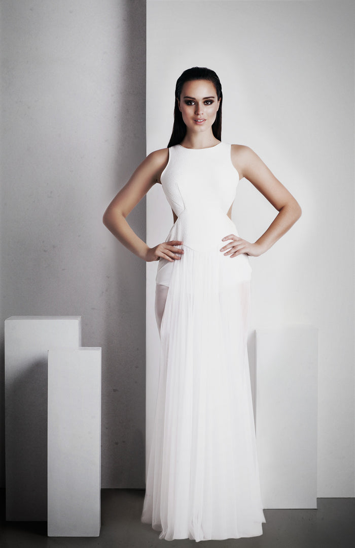 Image of 'Ophelia' Full Length Dress - White Front