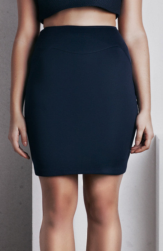 Image of 'Rhea' Pencil Skirt - French Navy Front