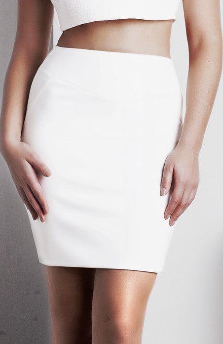 Image of 'Rhea' Pencil Skirt - White Front