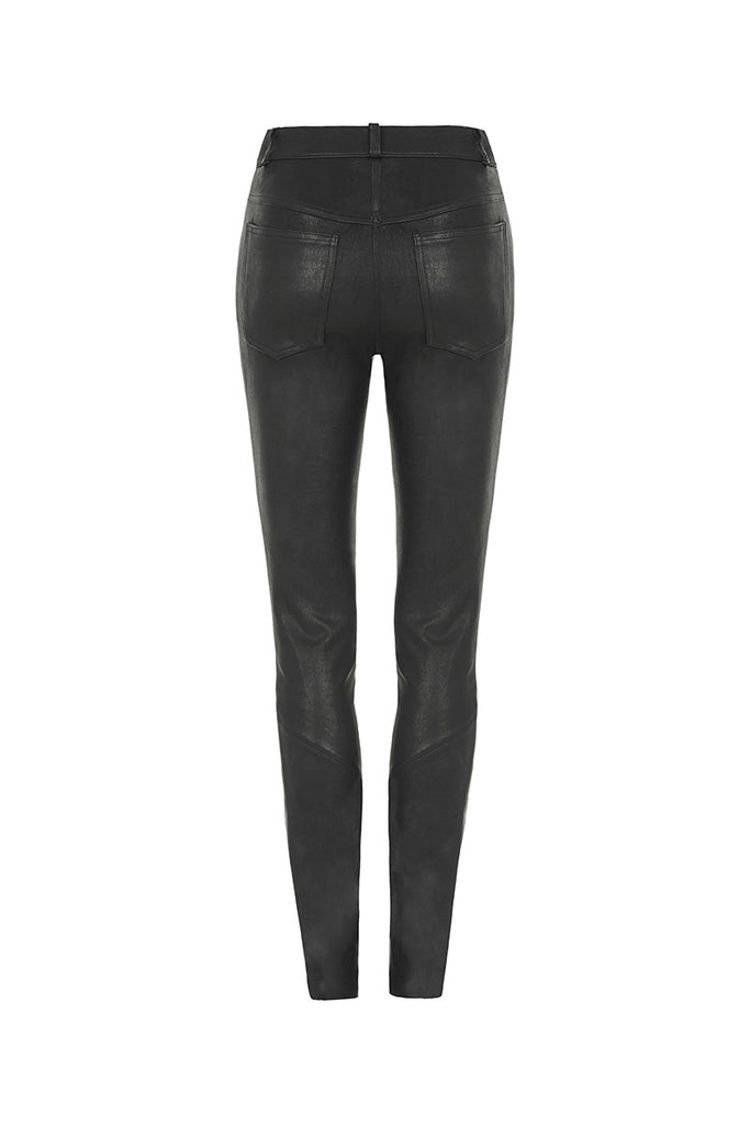 Image of Shot Skinny 5-Pocket Jean in Stretch Lambskin Leather Back