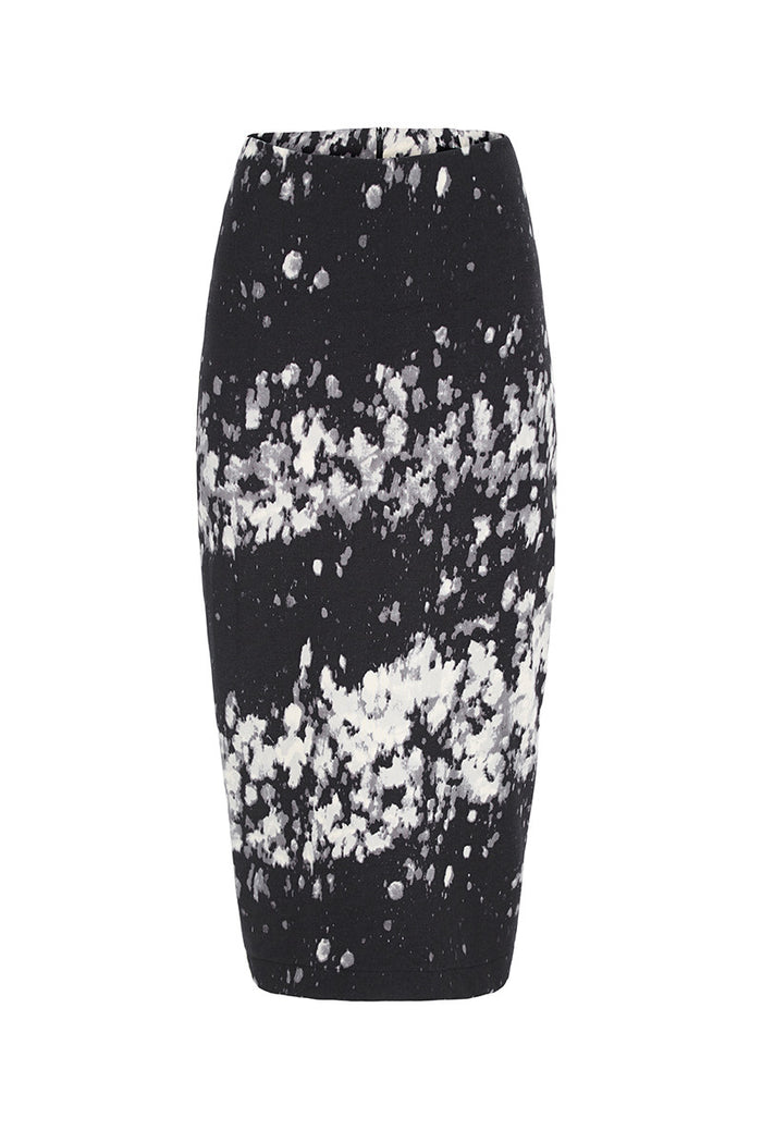 Image of Pollock Print Pencil Skirt Front