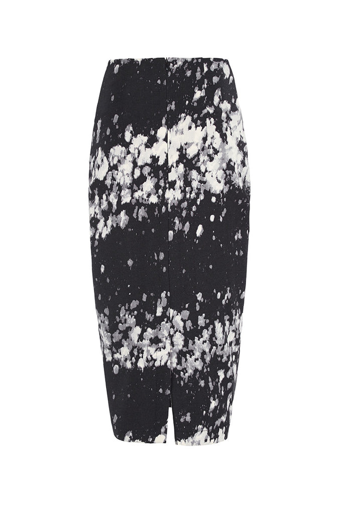 Image of Pollock Print Pencil Skirt Back