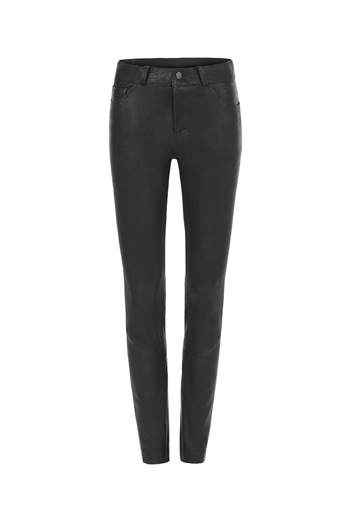 Image of Shot Skinny 5-Pocket Jean in Stretch Lambskin Leather Front