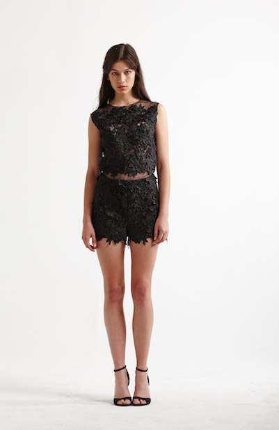 Image of Chase Shorts in Black Lace - Front