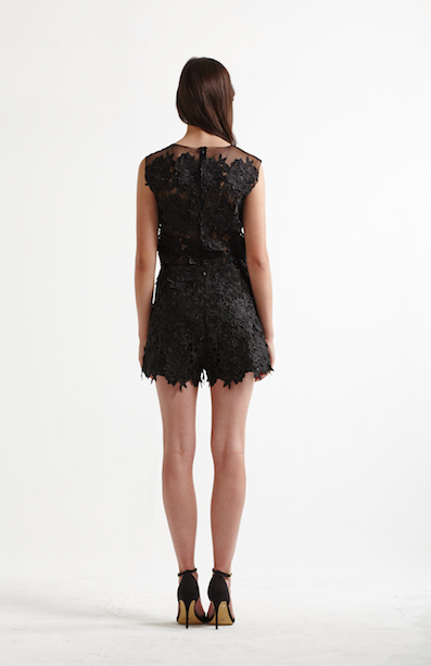 Image of Chase Shorts in Black Lace - Back