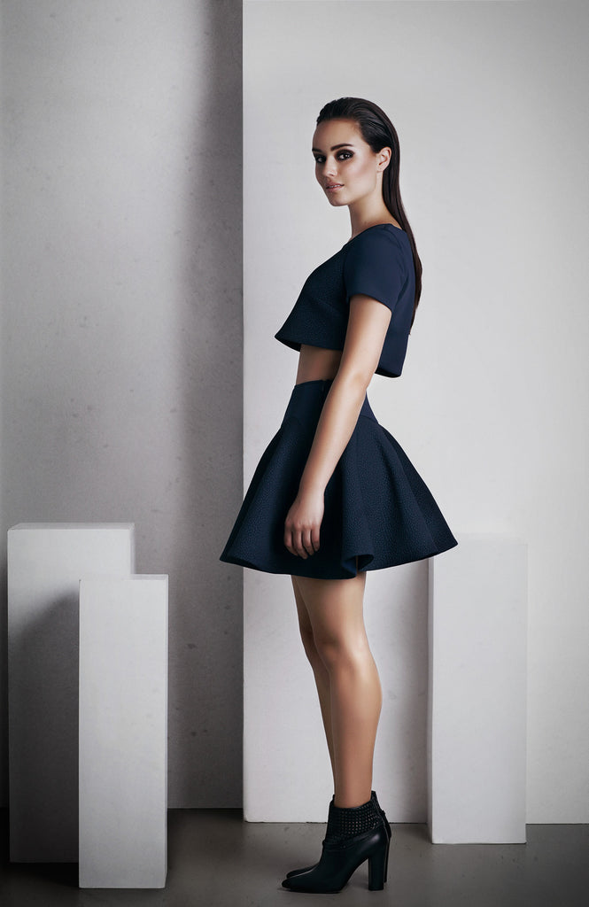 Image of 'Calypso' Full Skirt - French Navy Side