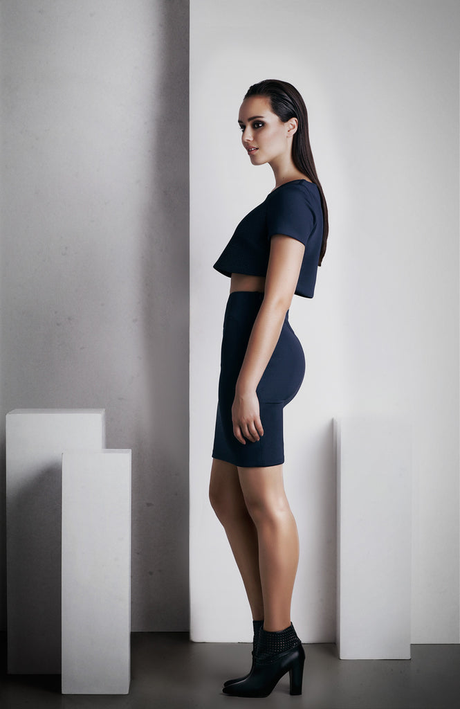 Image of 'Rhea' Pencil Skirt - French Navy Side