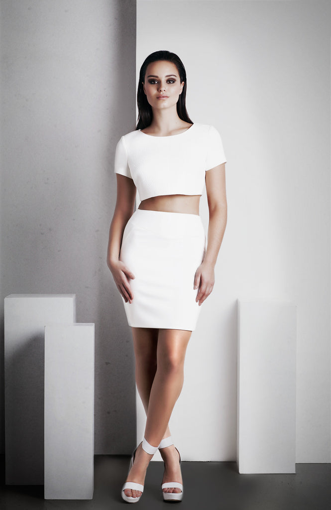 Image of 'Rhea' Pencil Skirt - White Front 2