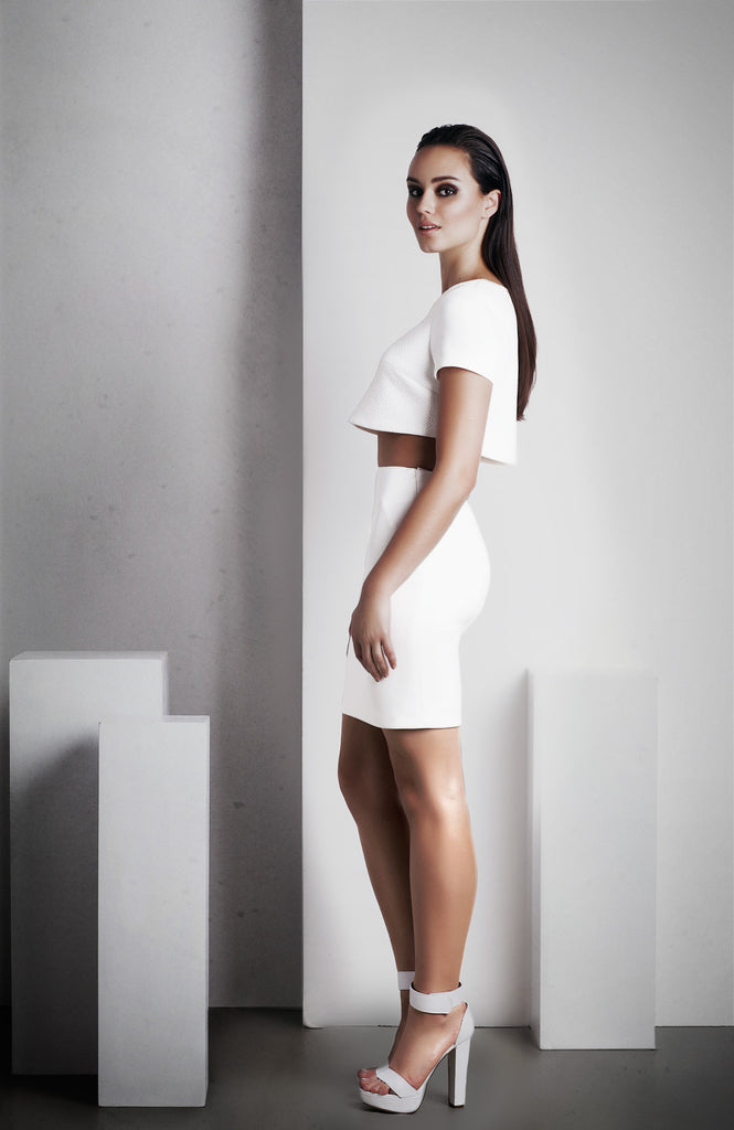 Image of 'Rhea' Pencil Skirt - White Side
