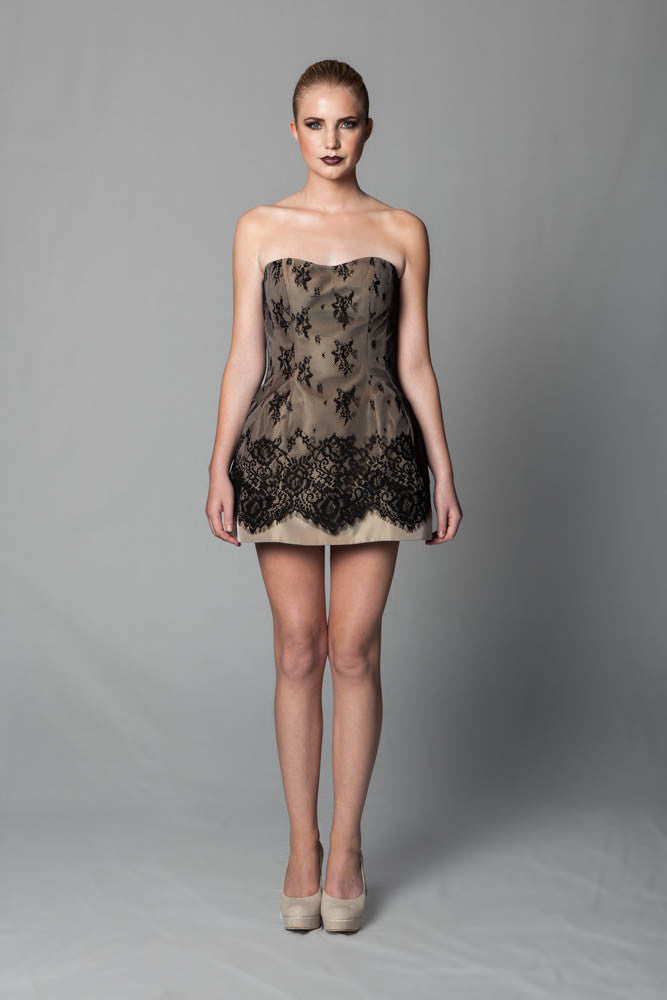 Image of Lace Dome Dress In Nude Side Front