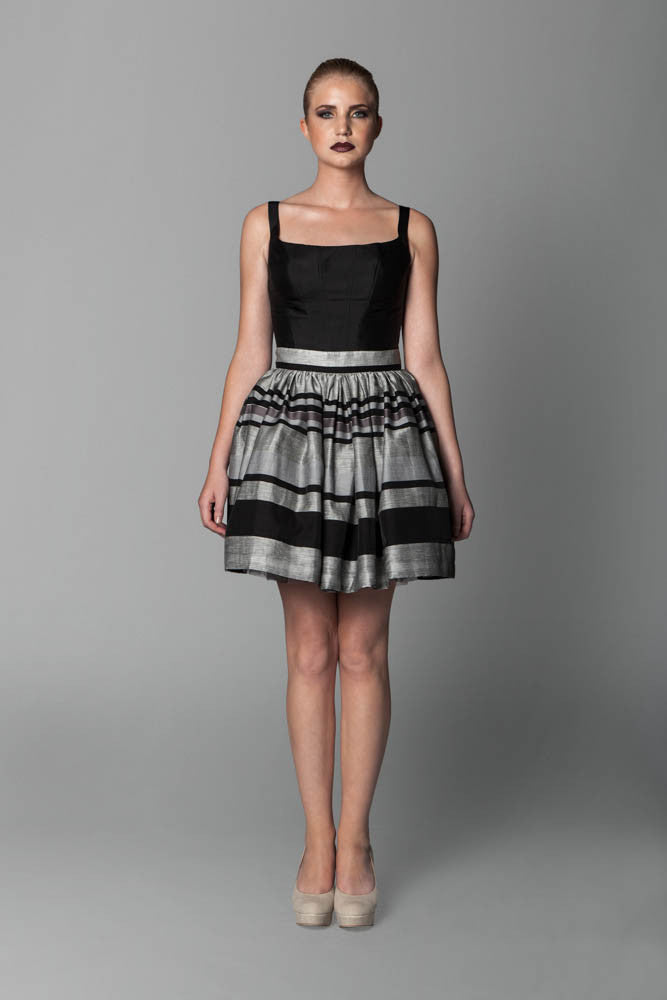 Image of Striped Gathered Skirt Front