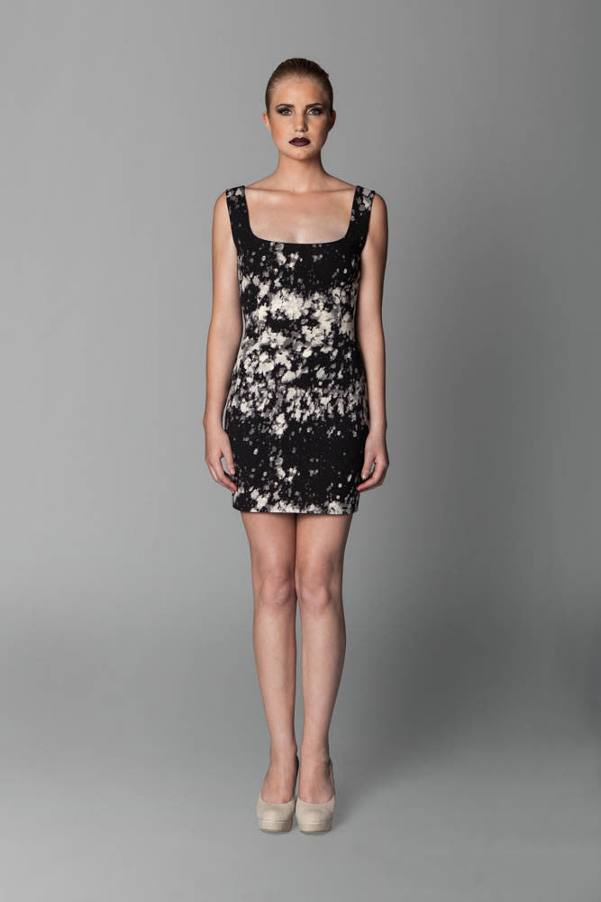 Image of Pollock Square-Neck Ponti Dress Front