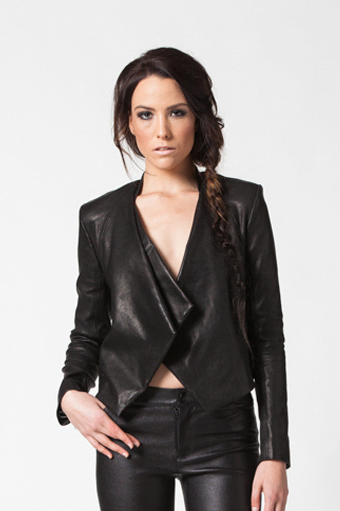 Image of Ride Asymmetrical Jacket In Stretch Lambskin Leather Close Up