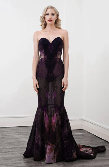 Iris  Full Length Strapless Gown