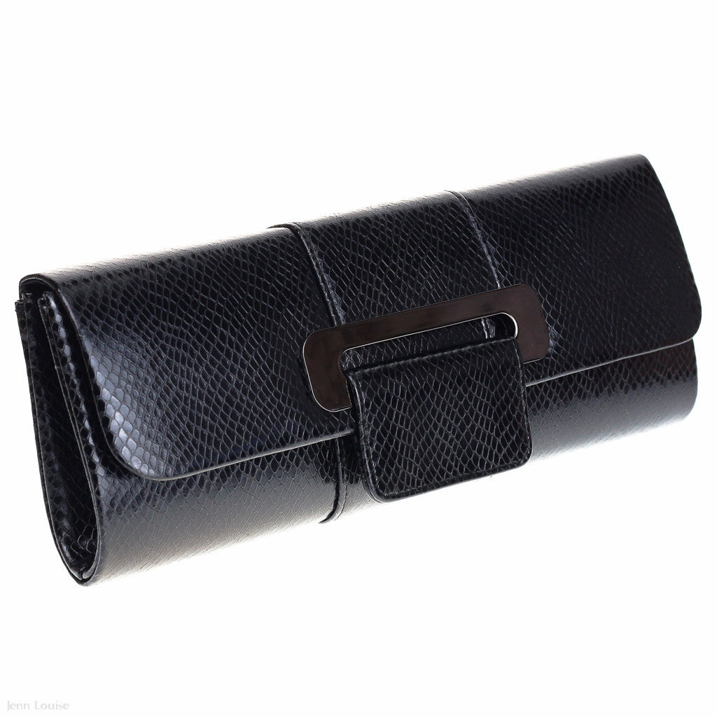 Mock Snake Clutch (Black)