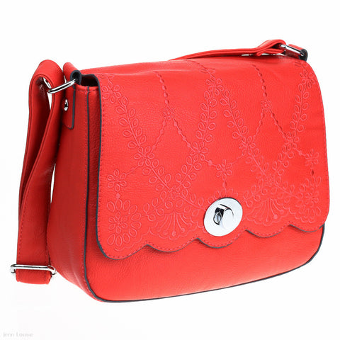 Embossed Satchel (Coral)